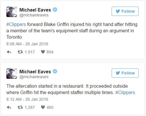 Blake Griffin Breaks Hand Fighting Michael Evans