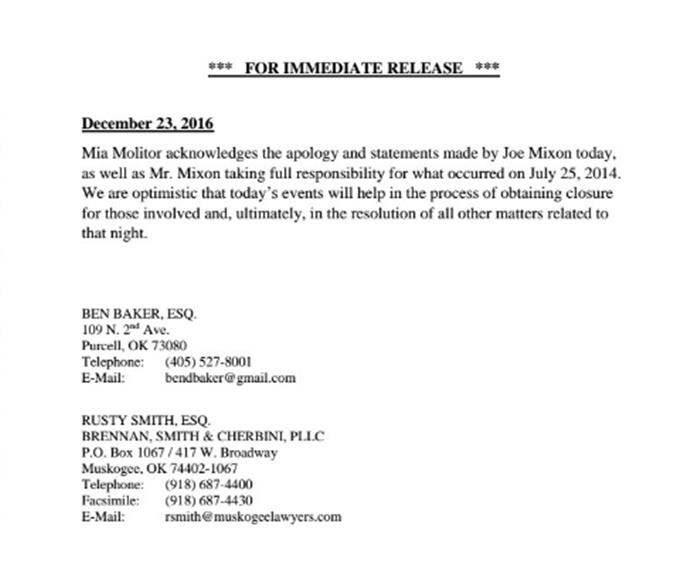 Mia Molitor Lawyers Issue a Public Statement about Joe Mixon