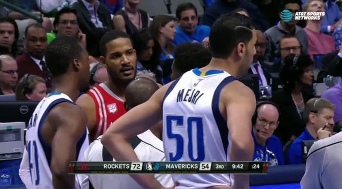 Trevor Ariza + Salah Mejri Get Into Heated Situation