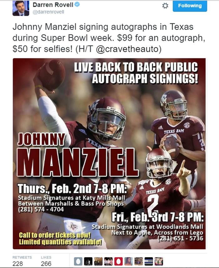 Johnny Manziel Selling Autographs + Selfie