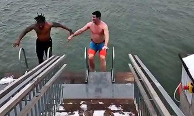 DeAngelo Williams and Gary Barnidge Ice Swim