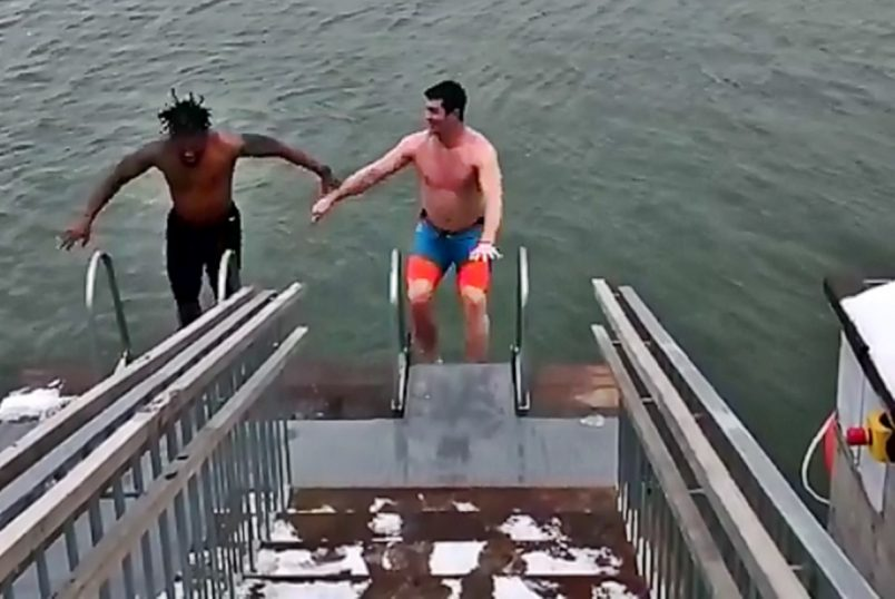 DeAngelo Williams and Gary Barnidge Ice Swim