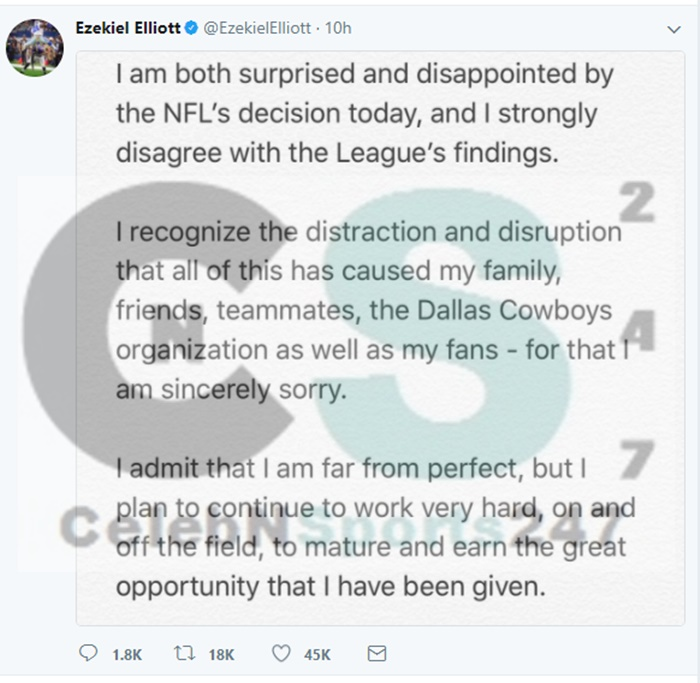 Ezekiel Elliott Surprised and Disappointed By NFL