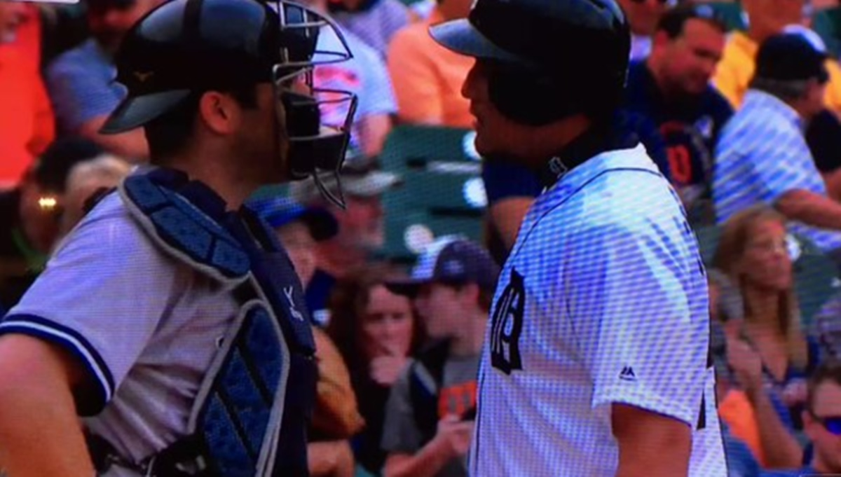 Austin Romine and Miguel Cabrera Brawling on Home Plate