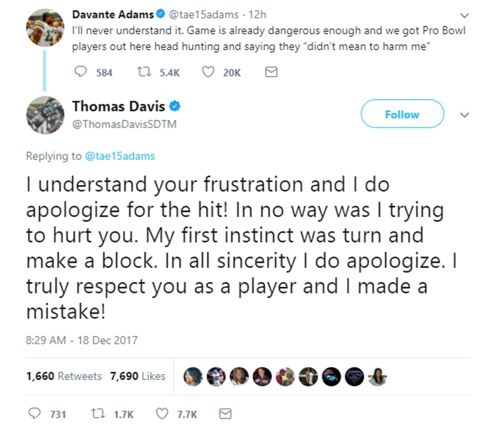 Davante Adams BLINDSIDED by Thomas Davis; Apology NOT Enough