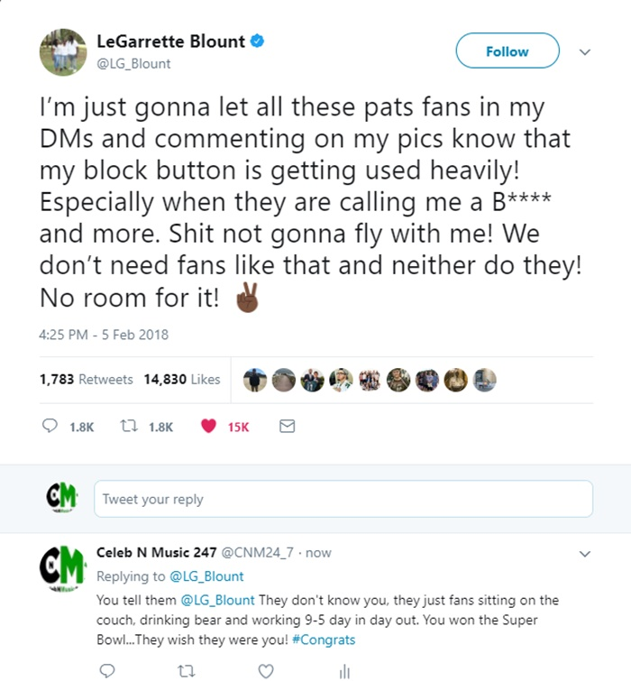 LeGarrette Blount Doesn't Need Fans Who Call Him a B*TCH