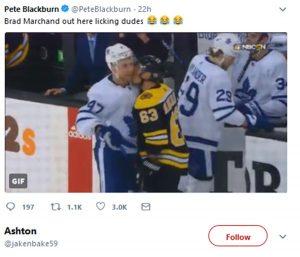 Boston Bruins Brad Marchand Kissing Leo Komarov