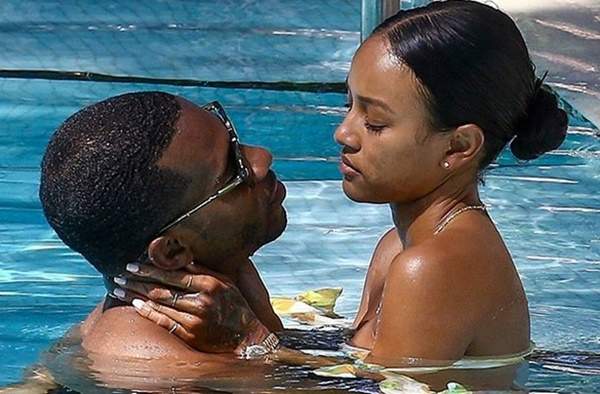 Karrueche Tran and boyfriend Victor Cruz Steamy Pool PDA