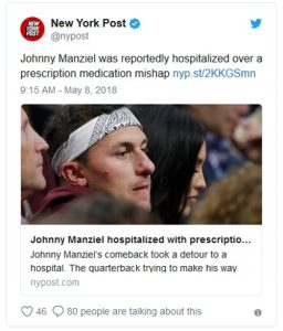 Johnny Manziel Releases Statement Regarding Hospitalization