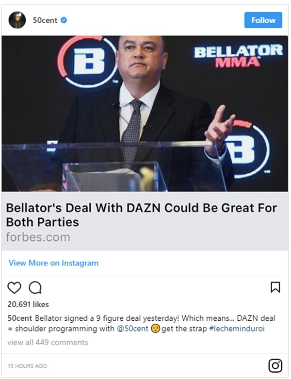 Bellator Inks Deal with DAZN Sports Streaming Service