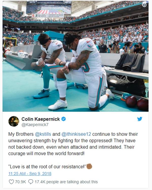 Colin Kaepernick Supports Kenny Stills + Albert Wilson Kneeling