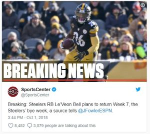 Le'Veon Bell Staying with Steelers After Lengthy Hold Out