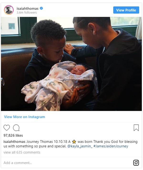 Isaiah Thomas and Kayla Welcome Baby Girl