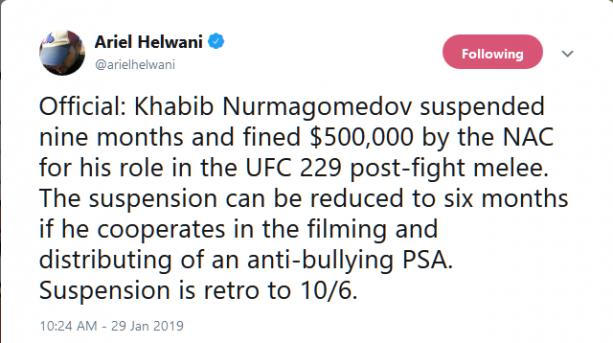 NSAC Suspends + Fine's Khabib Nurmagomedov + Conor McGregor