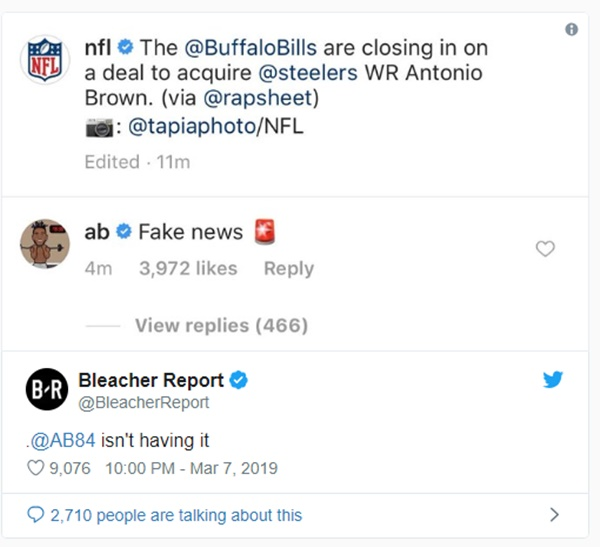 Antonio Brown Posts Savage Meme Annihilating Buffalo