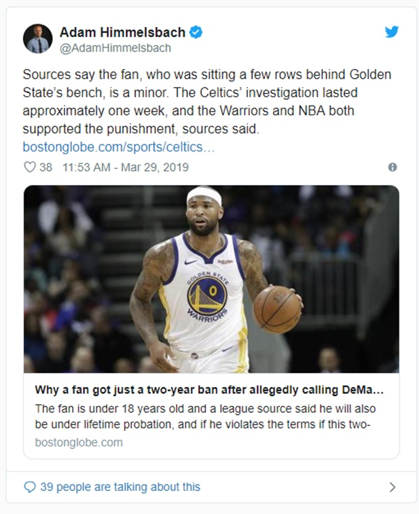 Celtics Fan BANNED for Racist Remarks Towards DeMarcus Cousins