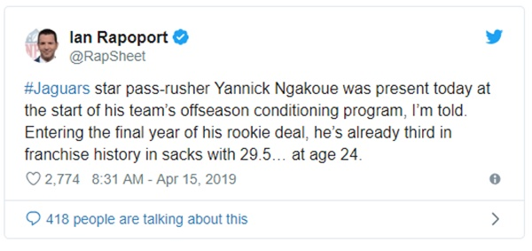 Jaguars DE Yannick Ngakoue Already Third in Franchise History in Sacks