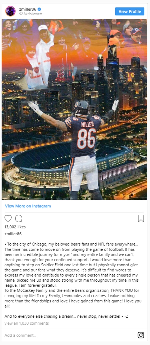 Zach Miller Announces Retirement After 9 Gruesome Surgeries