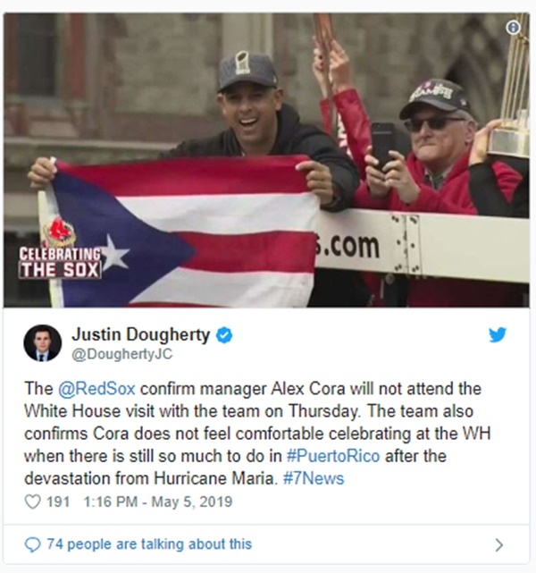 Why Red Sox Manager Alex Cora Won't Visit The White House