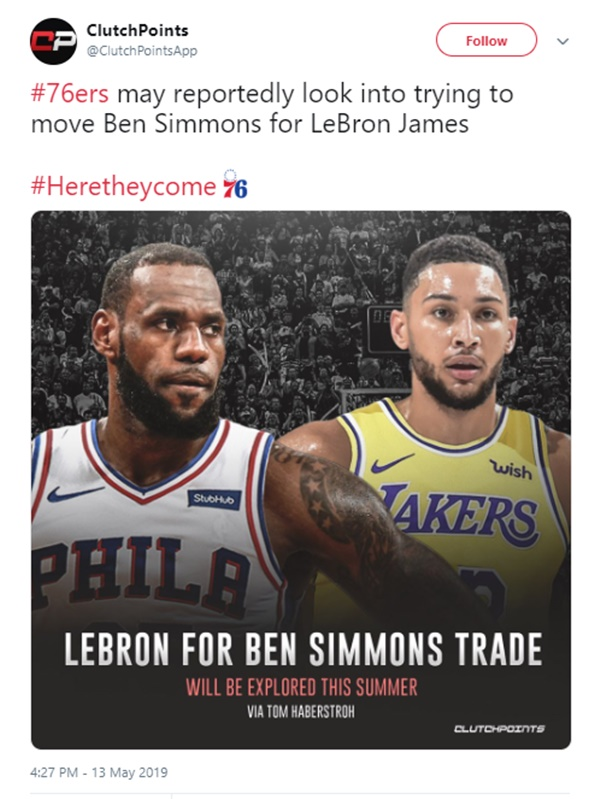 Ben Simmons LeBron James Trade Possibly in Works