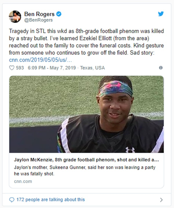 Ezekiel Elliott Paying for Jaylon McKenzie's Funeral