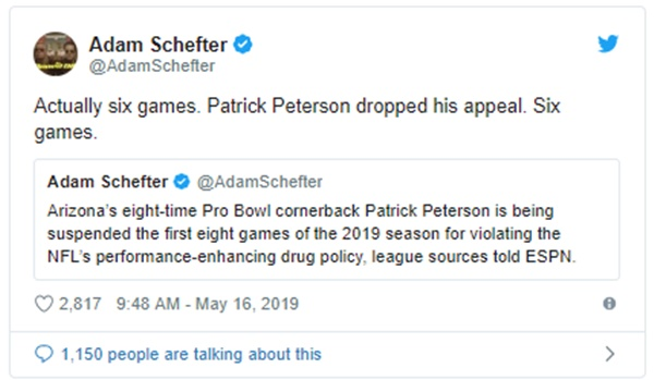 Arizona Cardinals CB Patrick Peterson Suspended