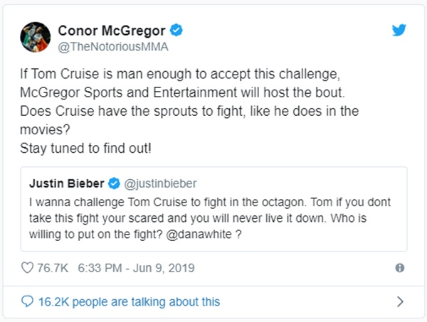 Conor McGregor Offers to Host Justin Bieber + Tom Cruise Fight