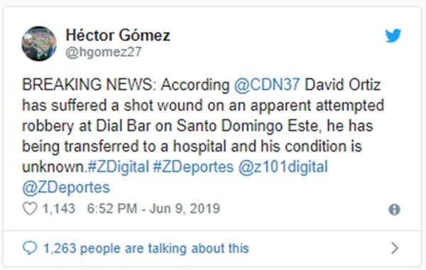 Red Socks David Ortiz Shot In Back