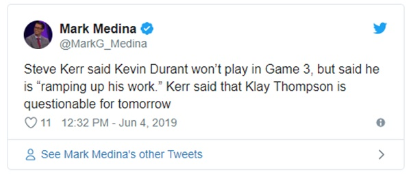 Kevin Durant Officially Rulling on Game 3