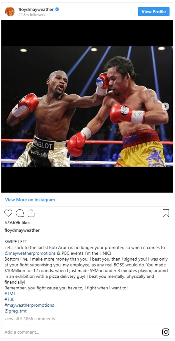 Floyd Mayweather FIRES BACK at Manny Pacquiao