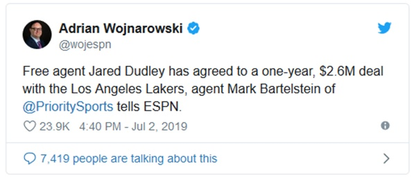 Lakers Signing Jared Dudley to 1-Year Deal