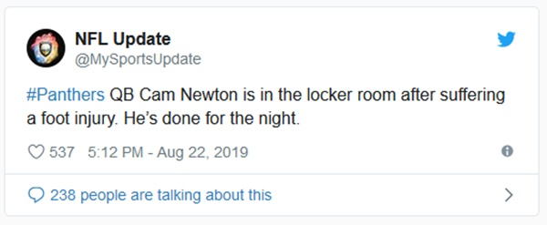 Cam Newton Injured In Preseason Game Against Patriots