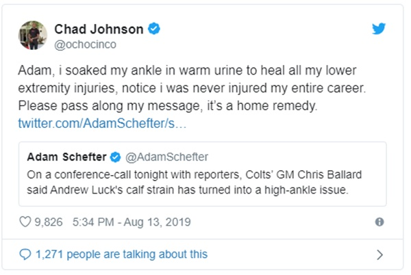Chad Ochocinco Tells Andrew Luck To Soak Ankle in Warm Urine