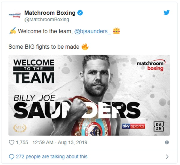 Billy Joe Saunders Signs Multi-Fight Deal with Matchroom Boxing