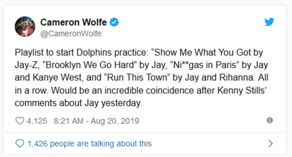 Dolphins HC Brian Flores TROLLS Kenny Stills with Jay-Z Songs