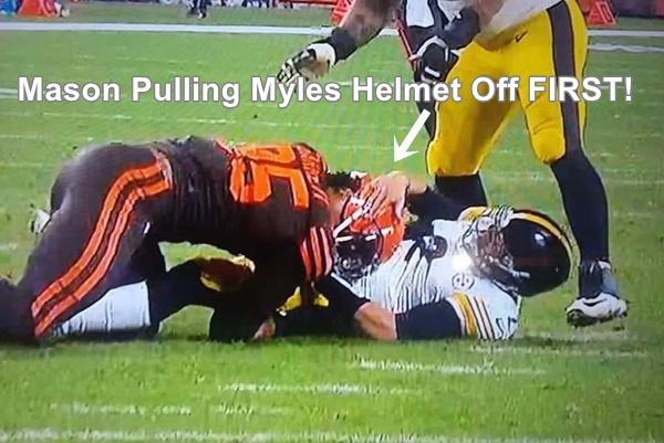 Mason Rudolph Tried To Pull Off Myles Garrett's Helmet First